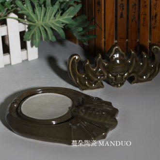 Antique porcelain inkstone bijia single glaze porcelain pen rack bat inkstone archaize Wen Fang appliance