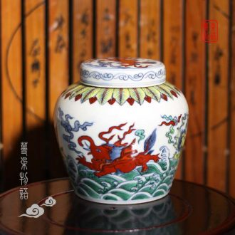 Jingdezhen hand-painted imitation Ming emperors pegasus day word walrus porcelain pot dou color day word can of many colors