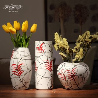 Jingdezhen ceramic dry flower vase three-piece living room TV cabinet table household decoration creative flower