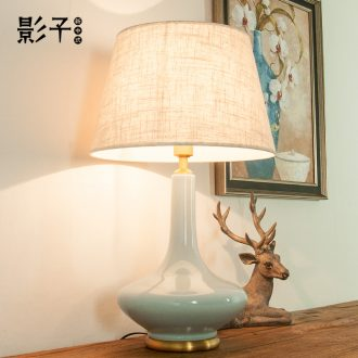 Full copper ceramic desk lamp tree American contracted and contemporary sitting room the bedroom the head of a bed study hotel chandeliers, 1034