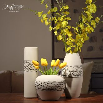 Contemporary and contracted ceramic dry put vase three-piece living room TV cabinet table home decoration coarse pottery furnishing articles