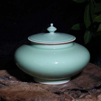 Jingdezhen celadon 5 jins of 15 kg small storage tank celadon cover pot home furnishing articles furnishing articles collection