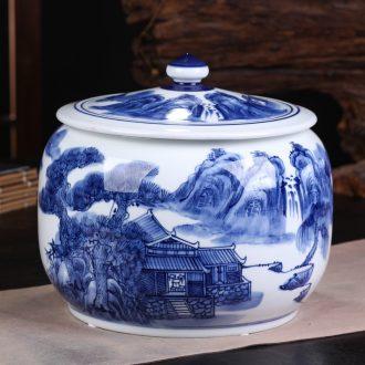 Jingdezhen ceramic hand-painted blue and white porcelain tea pot large household seal tank general storage tank receives