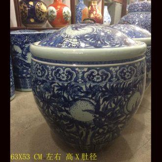 Jingdezhen put lotus flower round porcelain cover canister to practical blue barrel rice pot convex ceramic POTS