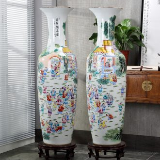 Jingdezhen ceramics of large vases, hand-painted pastel spring of the ancient philosophers lad noise figure of archaize ceramic furnishing articles in the living room
