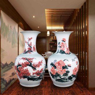 Day hao jingdezhen hand-painted ceramic vase lotus harbinger figure of large sitting room hotel home handicraft furnishing articles