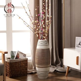 Nordic contemporary and contracted household adornment, dry flower arranging porcelain vase of large hotel high furnishing articles lucky bamboo living room