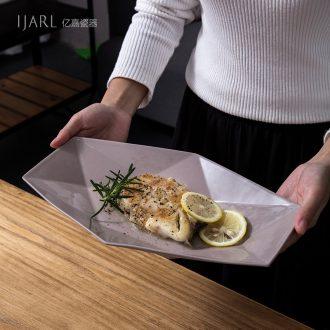 Ijarl million fine ceramic creative personality fish plate of irregular plate plate long drive home plate