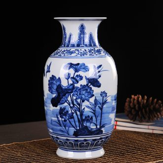 Jingdezhen ceramic vase household adornment handicraft furnishing articles furnishing articles ceramic vase lotus pond sitting room appeal