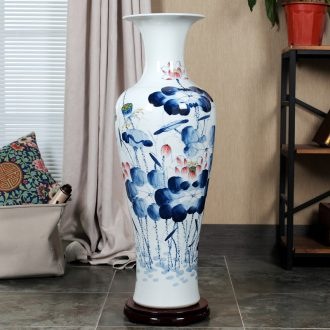 Jingdezhen ceramic floor day hao big vase hand-painted lotus landscape ceramic vase sitting room home decoration