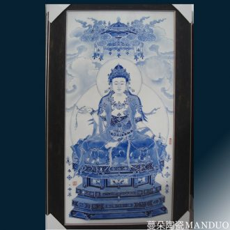 Jingdezhen hand-painted porcelain view video porcelain plate painting central scroll hanging porcelain porcelain plate of kannon hand-painted porcelain