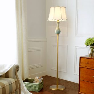 Any lift to American country floor lamp ceramic whole copper lamp warm sitting room bedroom berth lamp european-style decorative lamp