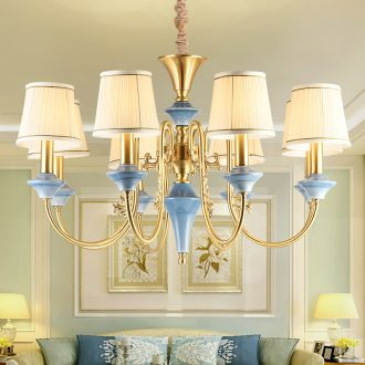American country droplight European copper lamp atmosphere all copper ceramic sitting room lamps and lanterns light Mediterranean villa clubhouse hall