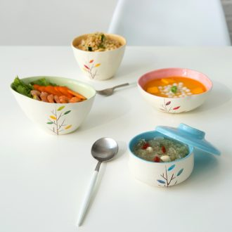 Ijarl million jia household Korean ceramic tableware to eat rice bowl with cover dessert bowl of soup bowl creative rainbow noodle bowl grove