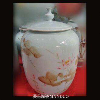 Jingdezhen 30 cm high flat cap can install 10 jins m ceramic porcelain jar of oil tank