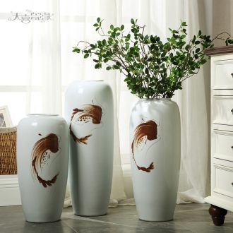 Jingdezhen European ceramic creative household soft adornment of contemporary sitting room of large vase zen flower arranging furnishing articles