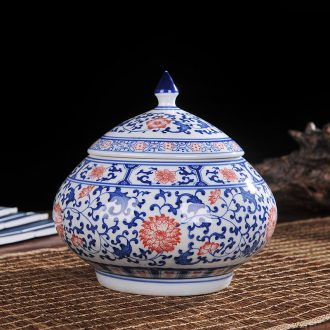 Jingdezhen ceramics vase of blue and white porcelain jar storage tank wine TV ark adornment handicraft furnishing articles in the living room