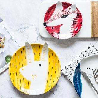 Million jia creative cartoon meal plate household ceramic dishes lovely fruit snacks snacks breakfast tray plates