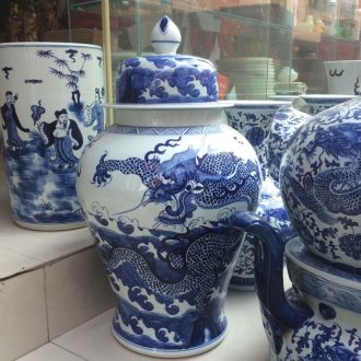 Jingdezhen blue and white dragon general hand-painted porcelain jar of 56-70 cm general ab lines can new cans