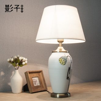 Modern new Chinese wind ceramic desk lamp hand-painted lotus seed contracted sitting room the bedroom the head of a bed lamp decoration lamps and lanterns is 1074