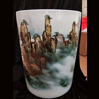 Jingdezhen hand-painted straight huangshan quiver kiln porcelain vase painting and calligraphy cylinder kiln and vase