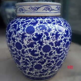 Jingdezhen porcelain tea pot of blue and white porcelain tea large extra large jar of classical porcelain POTS copper ring