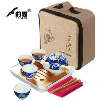 Leopard lam portable travel contracted and contemporary kung fu tea set kit home tea cup teapot jingdezhen little sitting room set