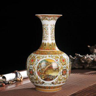 Jingdezhen ceramics vase qingming scroll handicraft furnishing articles in the living room
