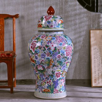 Jingdezhen hand-painted antique flower general powder enamel jar of ceramic handicraft furnishing articles wedding gift