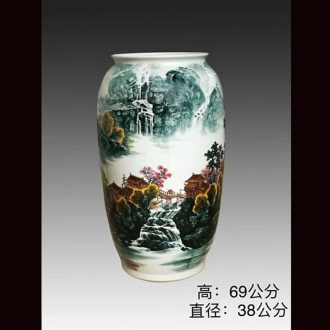 Jingdezhen 69 cm high hand-painted scenery wax gourd without cover porcelain jar of barrel m cans ceramic decorative furnishing articles