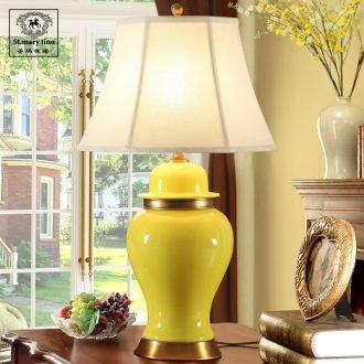 Santa marta tino contracted American ceramic desk lamp yellow hotel bedroom berth lamp large living room