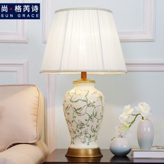 American contracted lamp creative study sitting room warm sitting room decorate ceramic desk lamp of bedroom the head of a bed lamps and lanterns of marriage
