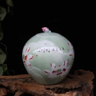 15 jin famous jingdezhen hand-painted porcelain carved lotus cover pot barrel ricer box collection place food cans