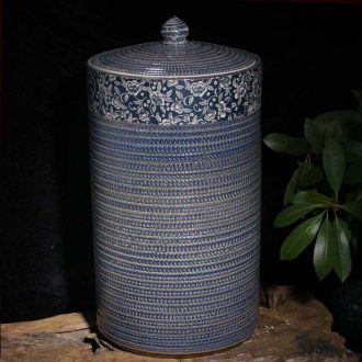 Jingdezhen 40 catty kiln indigo flowers straight cover pot kiln indigo scented tea cake storage tank pickle jar