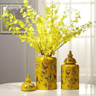 European ceramic storage tank home decoration vase furnishing articles American sitting room porch decoration flower arranging TV ark