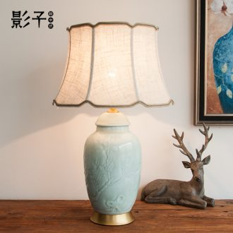 Modern Chinese style classical pure coppers ceramic desk lamp embossment hotel study new desk lamp of bedroom the head of a bed sitting room 1080