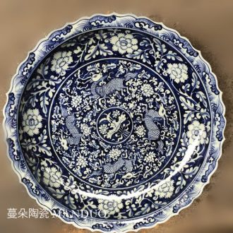 Jingdezhen ceramic hand-painted imitation of yuan blue and white deer furnishing articles elegant porcelain jingdezhen porcelain ceramic large plate