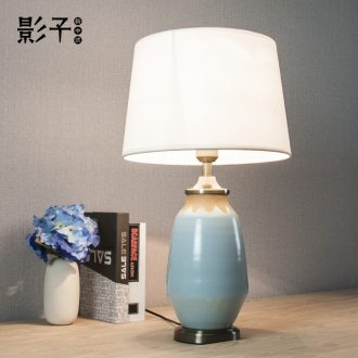 American country retro decoration ceramic desk lamp sky-blue study of contemporary and contracted sitting room the bedroom the head of a bed lamp is 1063
