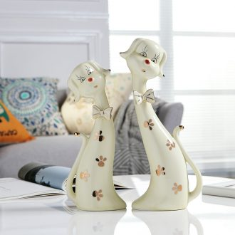 Jingdezhen ceramic creative furnishing articles animal lovers cat home television wine sitting room place handicraft ornament