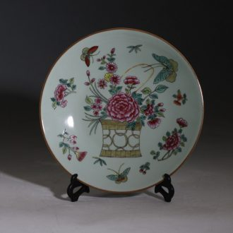 Jingdezhen hand-painted pastel imitation porcelain in the late qing dynasty of the republic of China the butterfly figure painting of flowers and figure decorative porcelain antique nostalgia