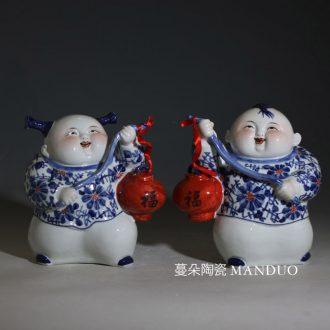 Jingdezhen porcelain ceramic tong qu lantern 1 of tong qu children furnishing articles furnishing articles fuwa carry lanterns