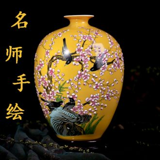 Jingdezhen ceramic hand-painted vases of new Chinese style household living room TV cabinet flower arranging furnishing articles handicraft ornament