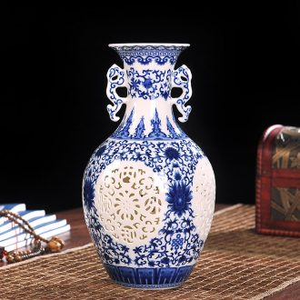 Jingdezhen ceramics powder enamel double hollow vase furnishing articles contemporary household adornment handicraft flower arranging the living room