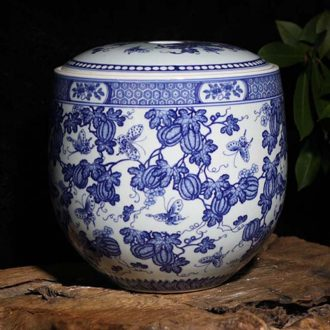 Jingdezhen hand-painted 10 jins 20 jins high-grade pumpkin flat cap jar of blue and white porcelain storage tank high-grade POTS