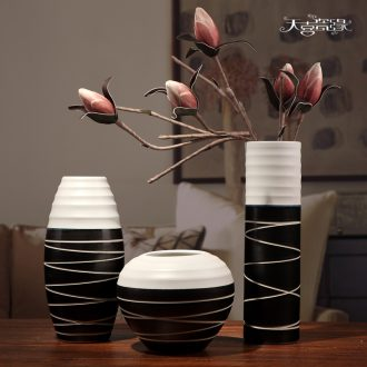 Jingdezhen ceramics three-piece vases, contemporary and contracted household TV ark furnishing articles sitting room adornment handicraft