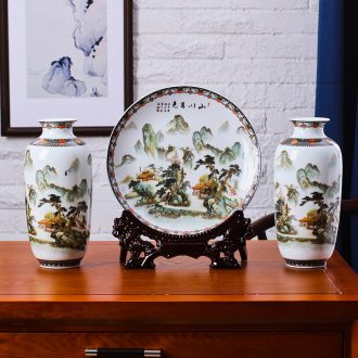 Jingdezhen ceramics three-piece vase household decoration sitting room ark wine office furnishing articles