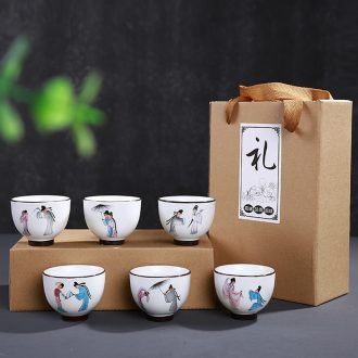 Leopard tender box 6 pack kung fu tea cups of jingdezhen ceramic tea set, cup sample tea cup household bone China porcelain