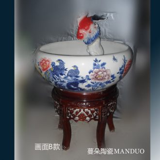 Jingdezhen porcelain high solid wood feet peony red goldfish fish fountain jingdezhen hand-painted fountain that occupy the home