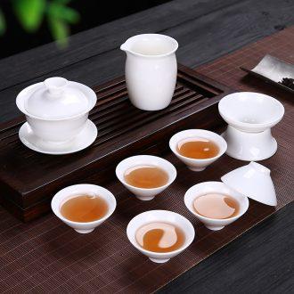 Leopard lam premium suet jade porcelain box kung fu tea set household ceramic white porcelain tea cups office tureen