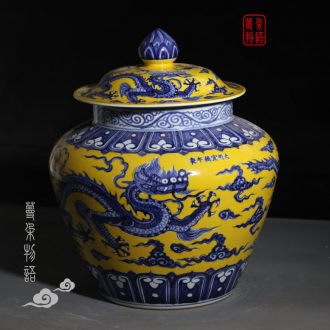 Jingdezhen jintong yellow blue and white dragon cover pot style elegant palace imperial porcelain cover tank
